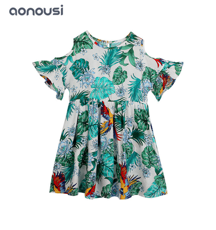 wholesale girls boutique outfits 2019 new design casual dress for girls Summer short sleeves floral dresses