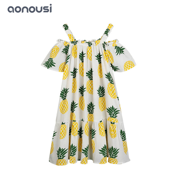 Girls dresses kid dresses wholesale girls summer dresses casual dress pineapple pattern dresses