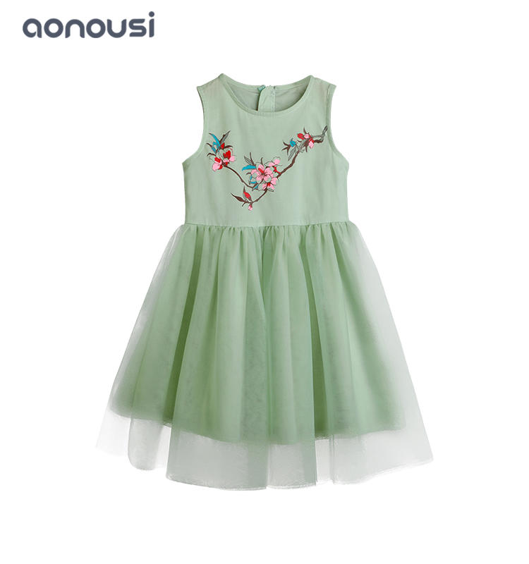 Summer girls dress  princess dresses wholesale girls clothes floral sleeveless dresses
