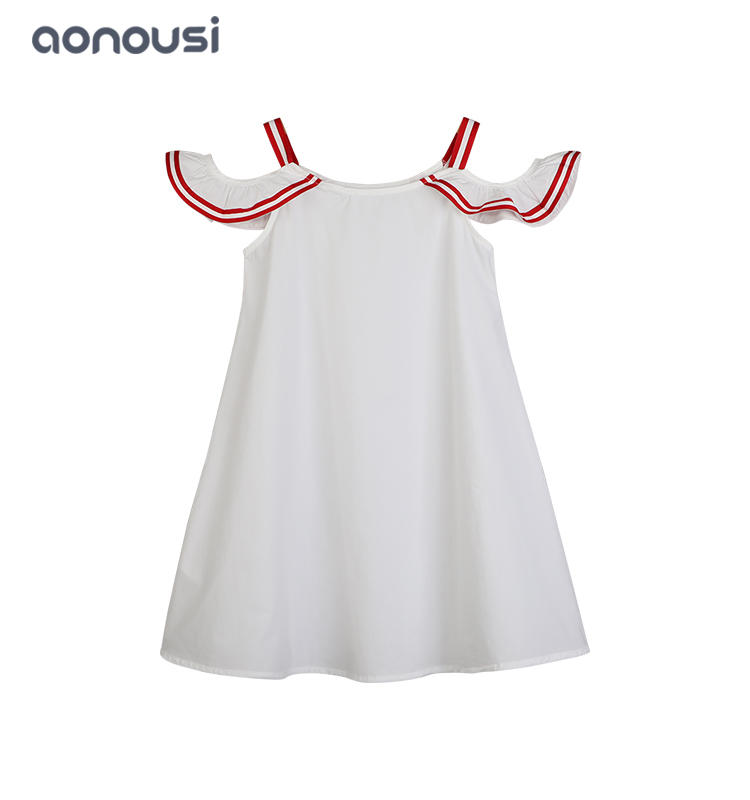 Girls kids latest design white dresses Korean version of big kids simple girls skirt wholesale girls clothes