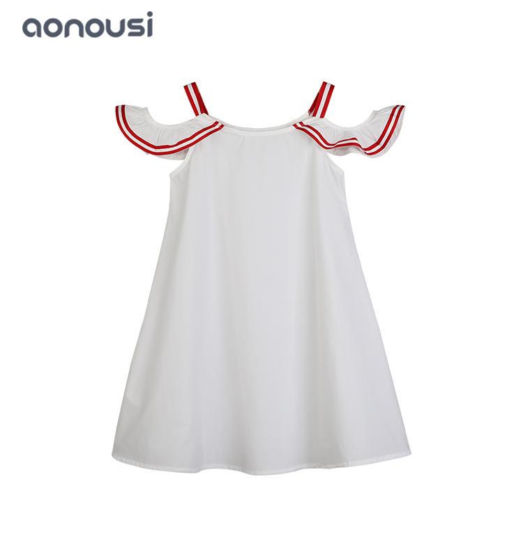 Girls kids latest design white dresses Korean version of big kids simple girls skirt wholesale girls clothes
