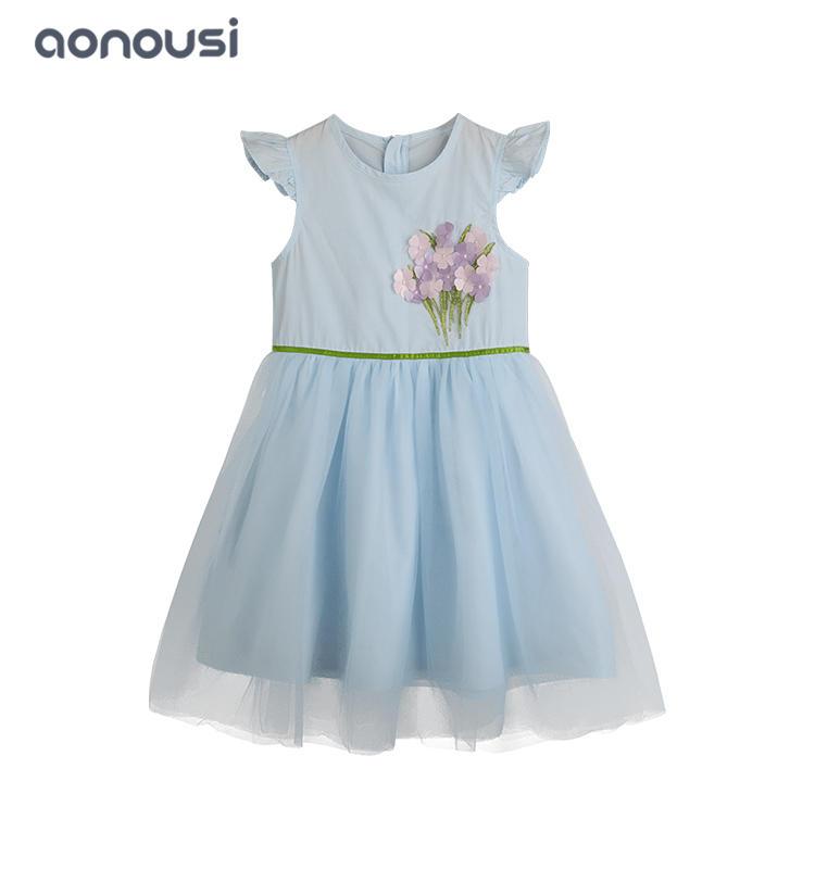 China wholesale girls clothing children comfortable dresses  girls  blue flowers pattern sleeveless lace dress