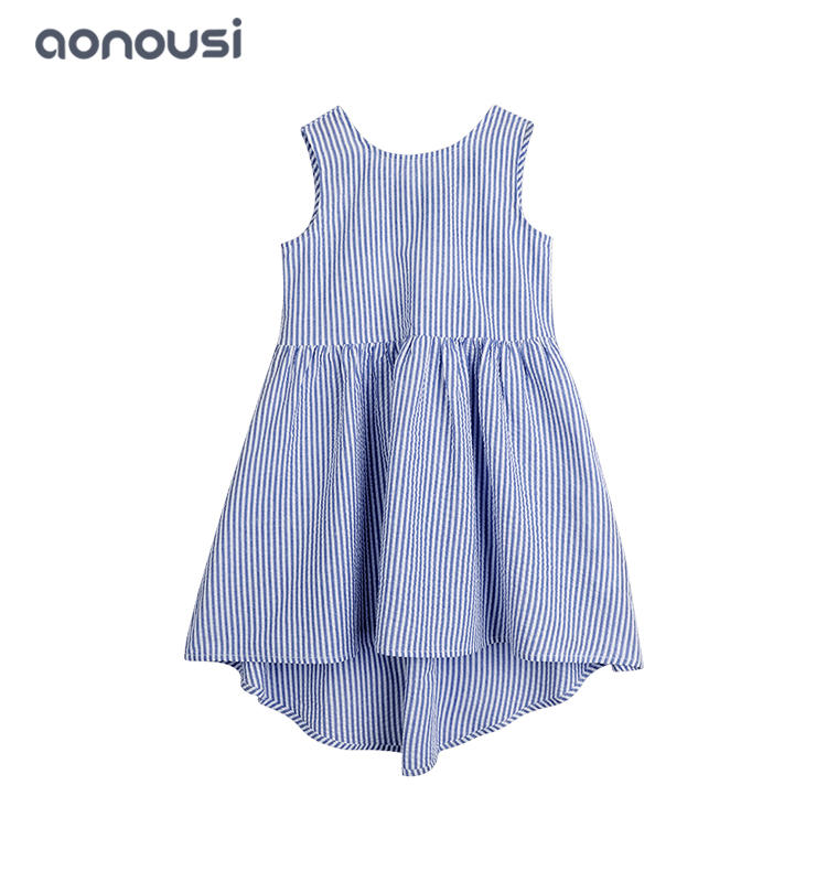Children clothing pure cotton striped girls dresses sexy back design blue dress wholesale girls clothes