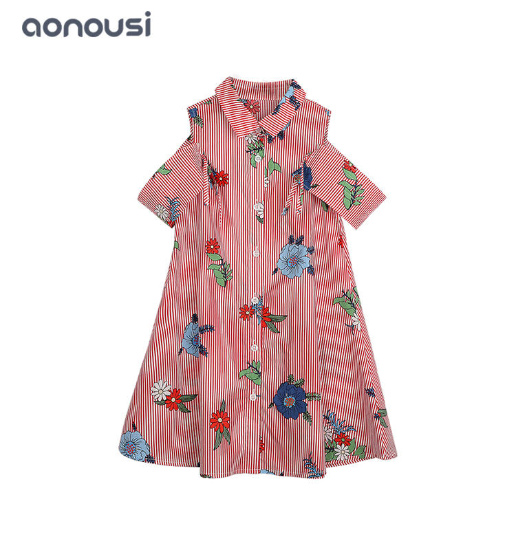 kids clothes Girls summer cotton dresses floral skirt wholesale girls fashion stripe red dress for children