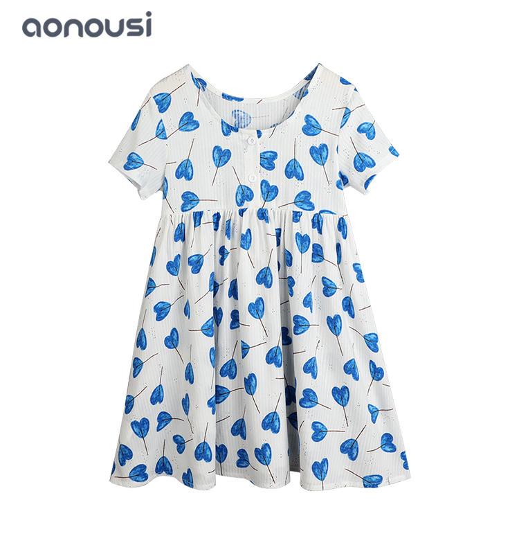 wholesale girls fashion clothing Lovely girls dress heart blue dresses children short sleeves dresses