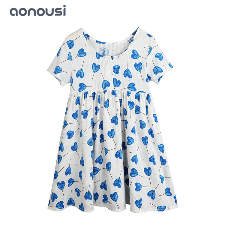 wholesale girls fashion clothing Lovely girls dress heart blue dresses children short sleeves dresses