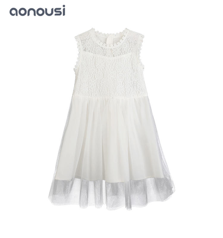 Big kids princess dresses summer party floral dress wholesale girls fashion white sleeveless dresses