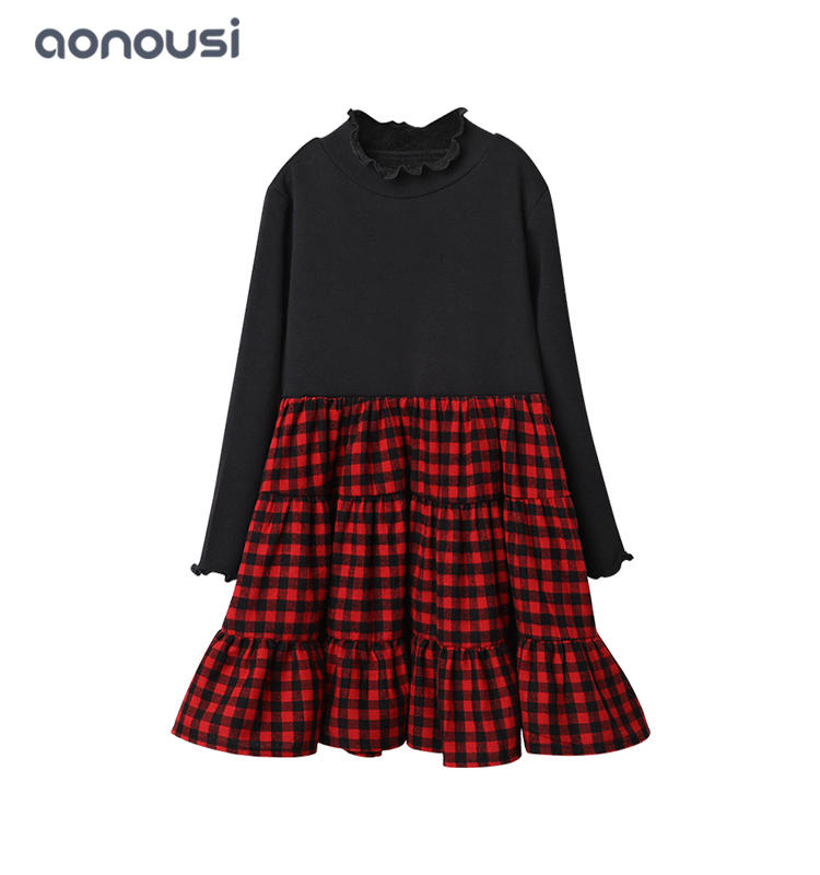 Winter Autumn girls dress wholesale girls fashion skirts red grid skirts for children
