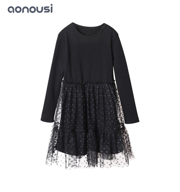 wholesale girls clothing kids baby girl fashion lace dresses long sleeves winter lace dresses