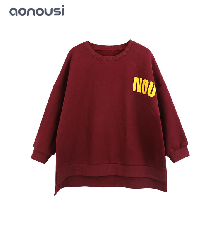 Spring Autumn girls sweatshirt girls boutique dresses wholesale loose long sleeves shirt red fashion designer big letter pattern clothing
