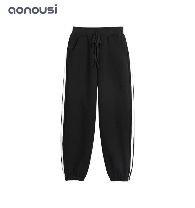 wholesale girls Winter warm pants girls striped pants casual sporting pants