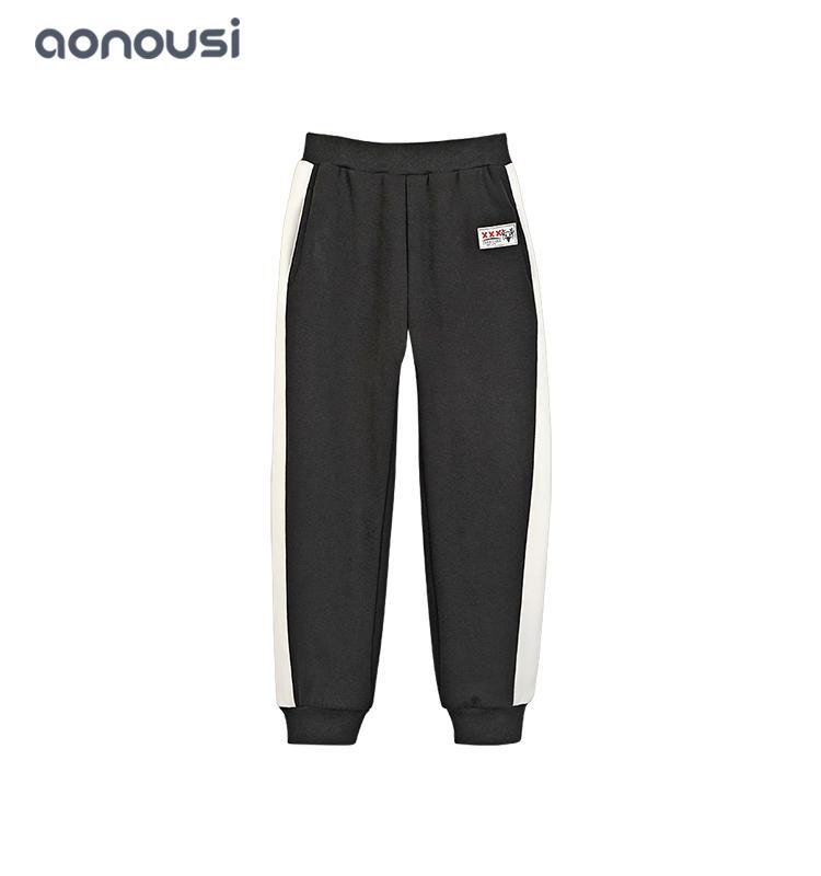 China wholesale girls clothing black pants girls striped soft pants brand pattern warm clothes children sport clothing