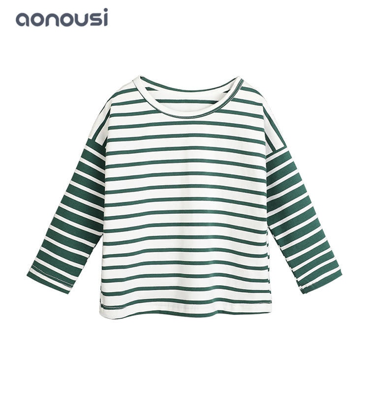 Kids T-shirt custom children long sleeve striped T-shirt baby kids cotton tops wholesale girls shirts children clothing
