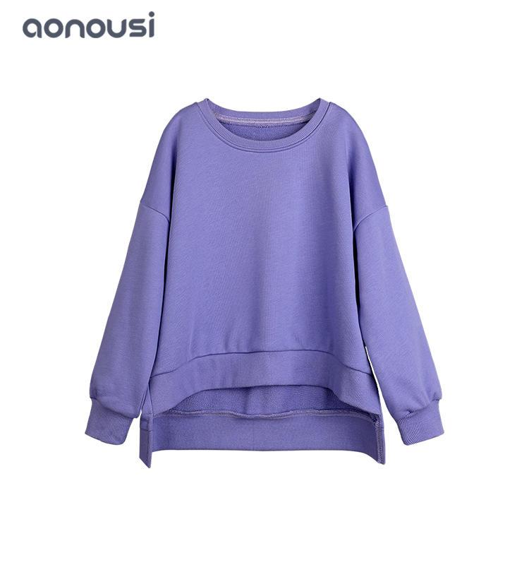 wholesale girls clothes Children Kids Warm Casual Sweatshirts Girls Plain Sweatshirt Jumper Crop Top
