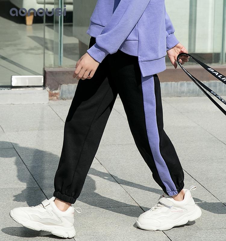 application-Girls loose sport pants wholesale girls fashion soft purple striped black pants kids des