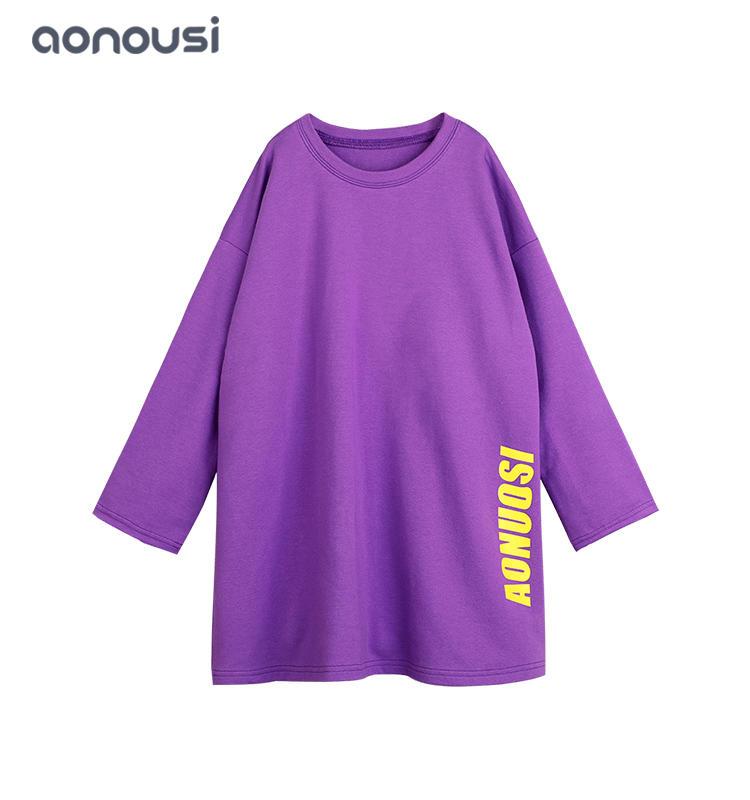 Wholesale girls Letter Print Sweatshirt 2019 Spring Fall Long Sleeve Loose T-shirt Dress Fashion Jogging Casual Sweatshirts