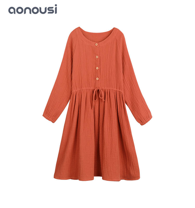 kids designer clothes lovely girl dress girls fashion wholesale Orange dresses long sleeves