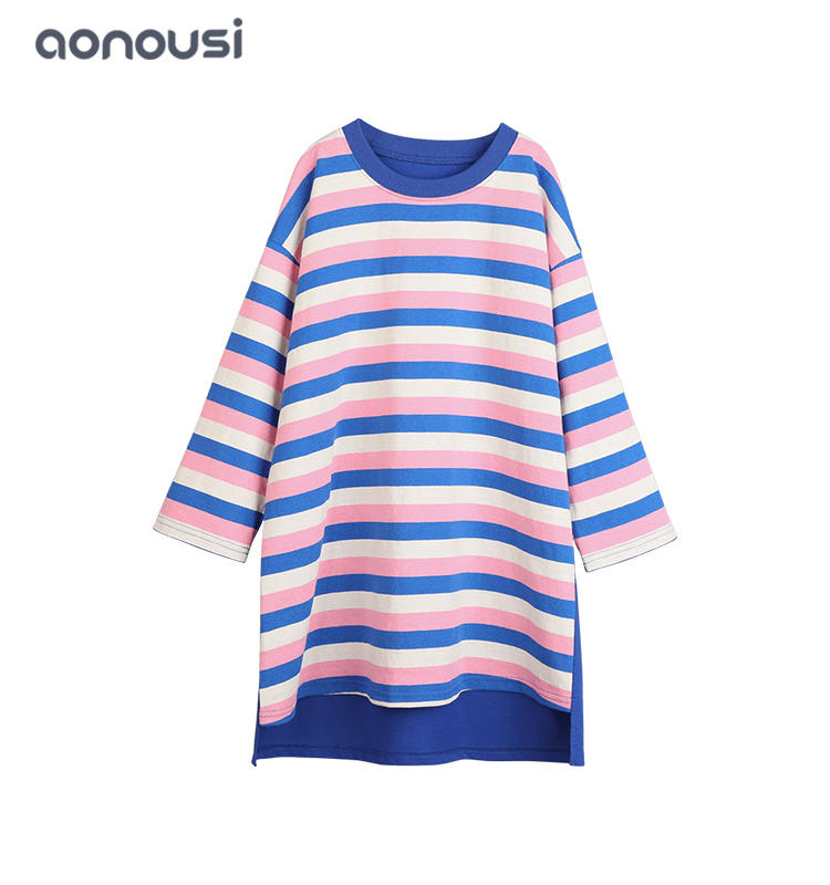 Kids clothing children designer dresses causal t shirt dresses wholesale girls fashion loose striped dress