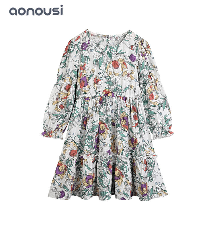 girls boutique dresses wholesale children skirt floral long sleeves dresses