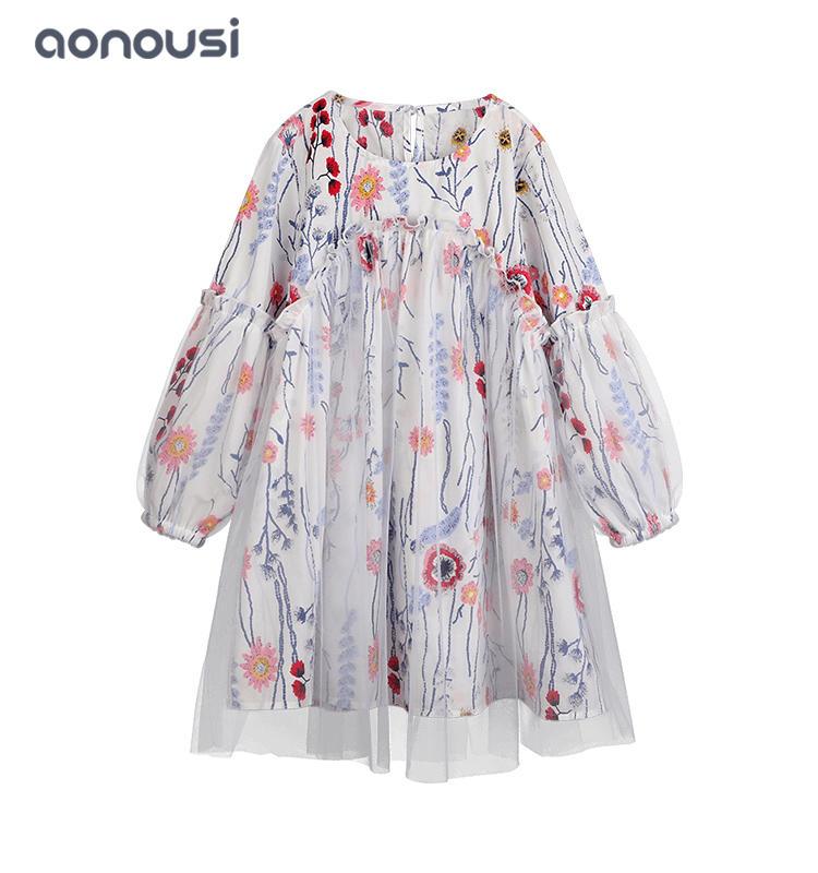 kids dresses girls skirt 2019 new design Autumn lovely long sleeves  lace princess dresses floral dresses wholesale girls clothes