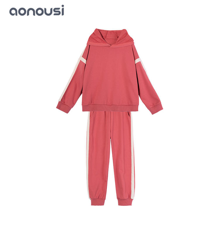 Autumn Winter new design children clothes red warm sport suit long sleeves shirt and pants two pieces  wholesale girls outfits