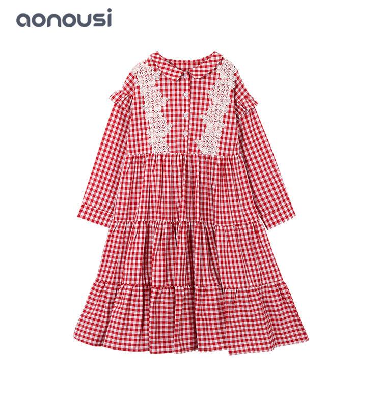 kids dresses 2019 Autumn Winter new princess dresses red plaid long sleeves  dresses girls boutique dresses wholesale