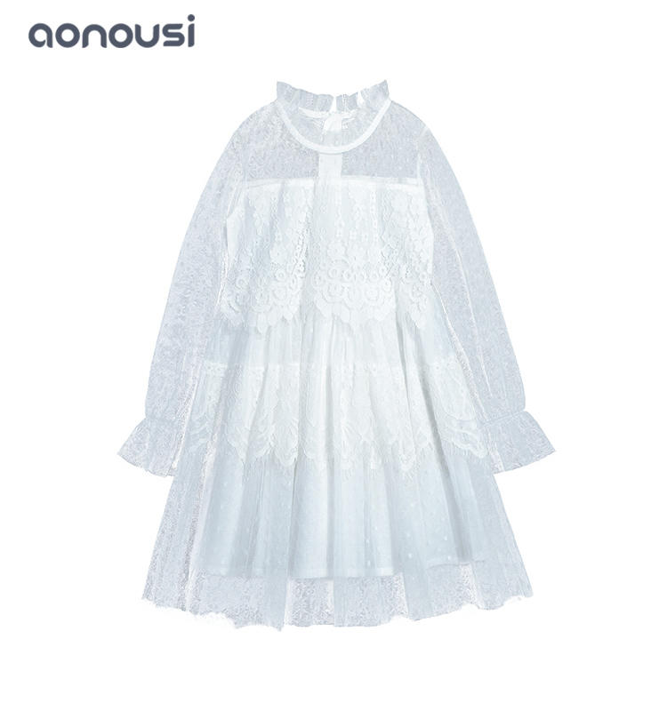 Wholesale girls fashion clothing winter fall children dresses princess dresses white lace long sleeves dresses