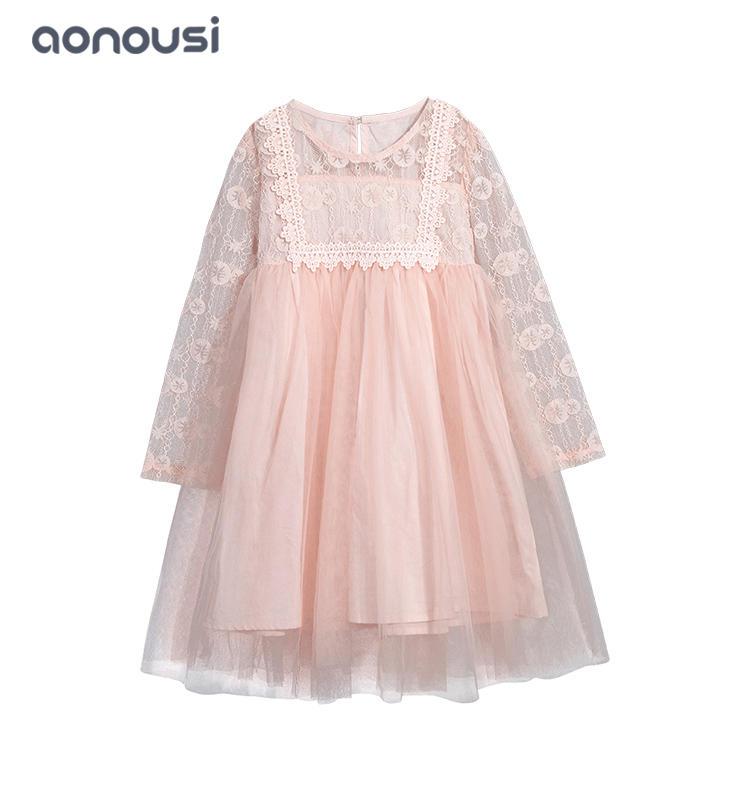 Korean version spring and autumn girl dress princess dress lace pompadour skirt wholesale girls dresses