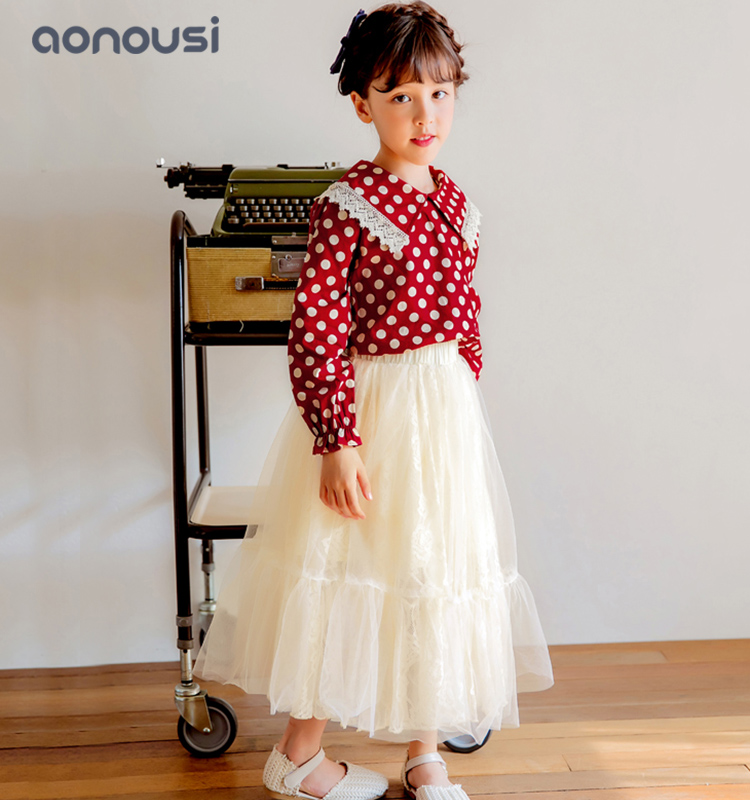 Autumn Winter shirt 2019 new children red long sleeves t shirt china wholesale girls clothing-Aonous