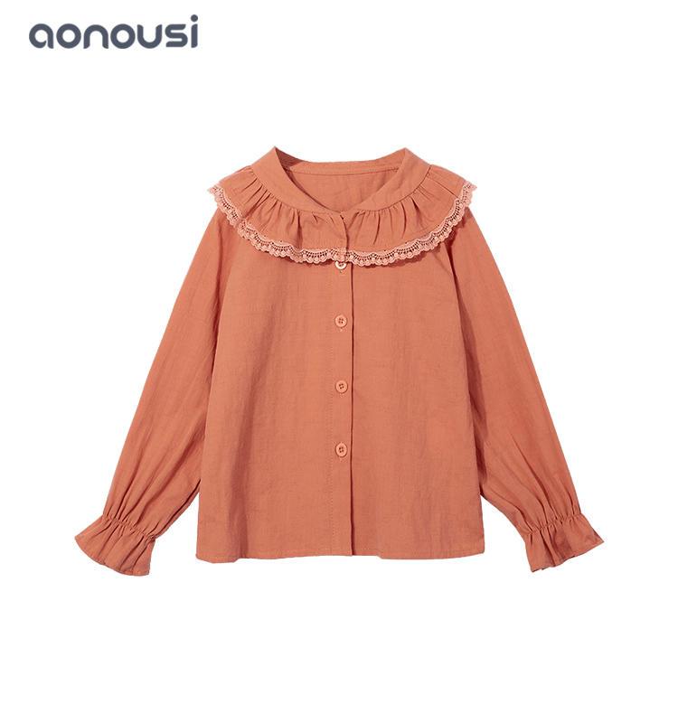 Children clothing Autumn lovely shirt long sleeves t shirt doll collar t shirt wholesale girls t shirts