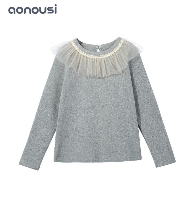 Fall winter new design t shirt long sleeves cotton t shirt colorful girls top wholesale