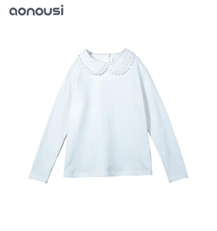 2019 Autumn winter girls clothes doll collar long sleeves warm t shirt wholesale girls clothes
