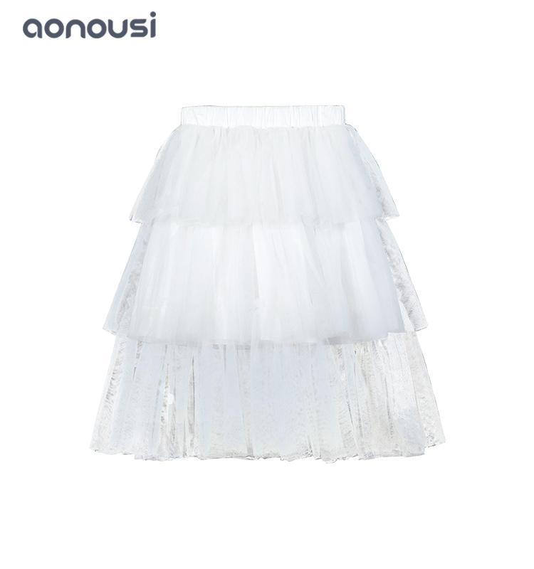 2019 Autumn winter new dresses wholesale girls fashion white cake shape lace dresses white skirt
