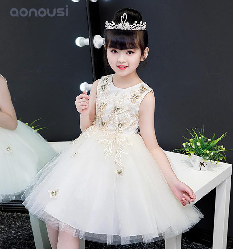 Lovely princess summer girls kids compere evening dresses performance dresses china wholesale girls clothing