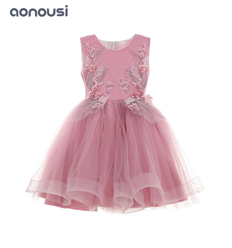 wholesale girls outfits kids evening dresses pink sleeveless floral bubble performance dresses