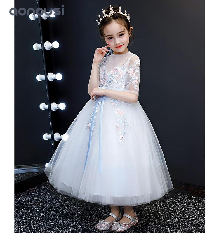 Girls dress kids dresses lace princess 2019 new style evening dresses floral Embroidered gauze dress wholesale girls dresses
