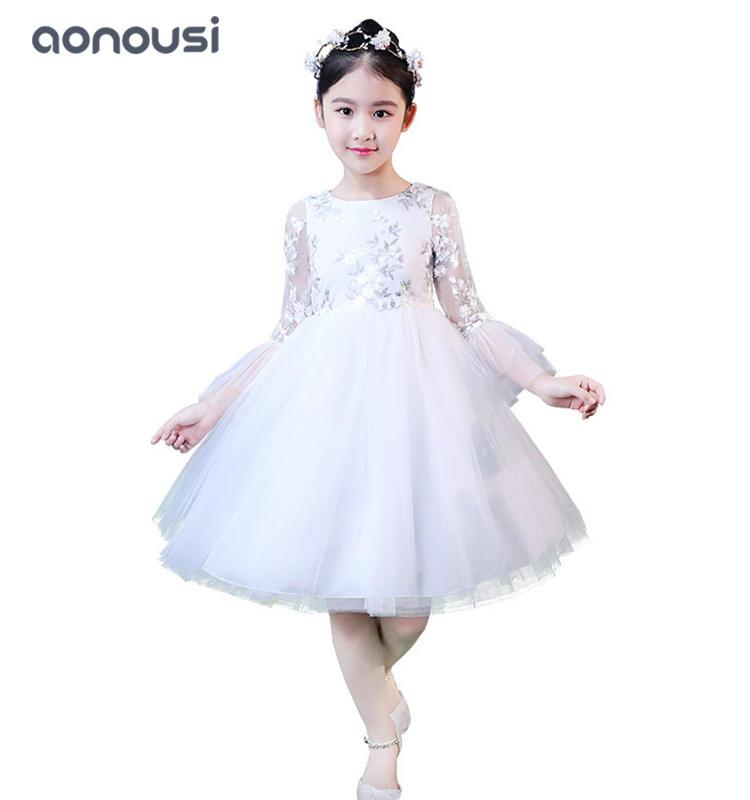 Girls kids evening dresses white lace princess dresses fairy skirt wholesale girls dresses