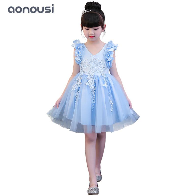 Children princess dresses girls performance clothing hosts dresses girls wholesale