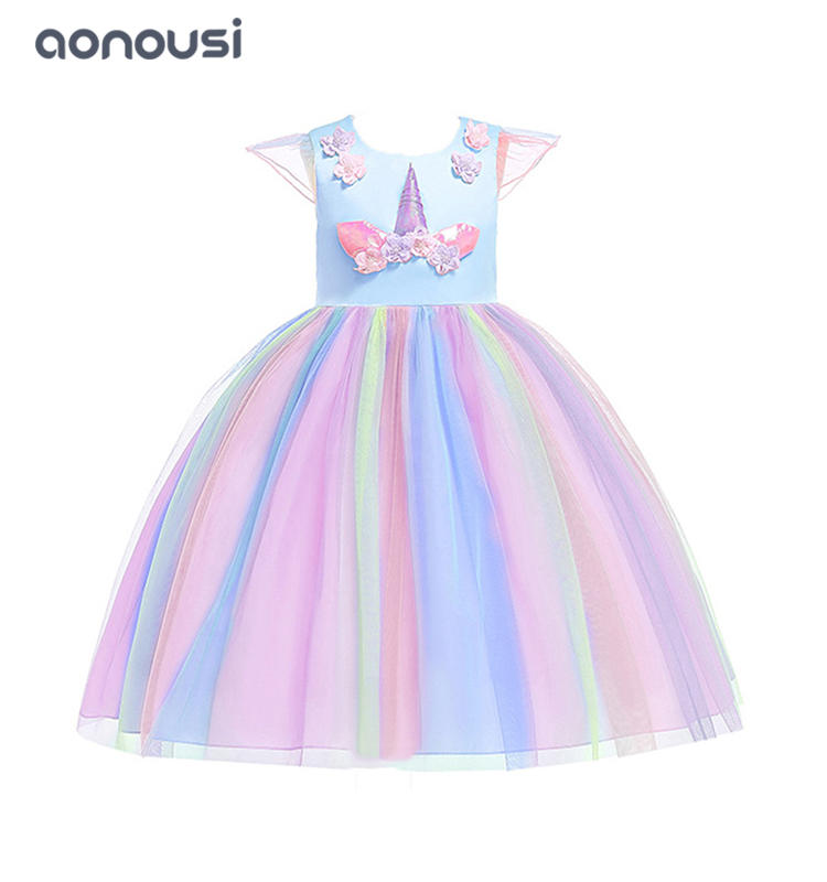 wholesale girls dresses floral short sleeves evening dresses colorful bubble dresses