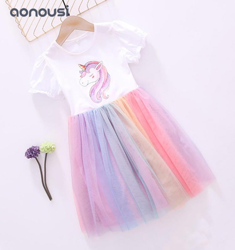 Princess dresses unicorn colorful skirt wholesale girls boutique outfits