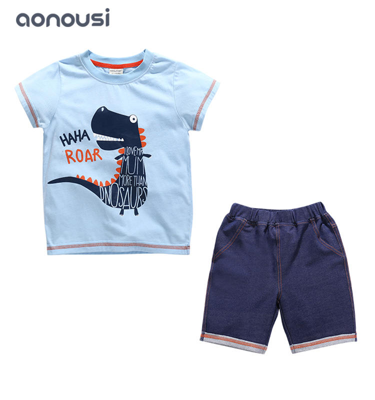 2019 Korean version summer boy clothes gray suits dinosaur printing t shirt and dark blue shorts boys wholesale