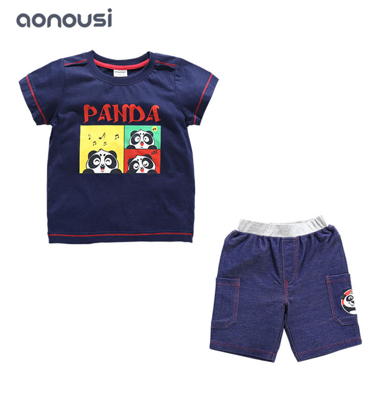 Summer fashion sets wholesale suits for boys short white t shirt and shorts two Pieces