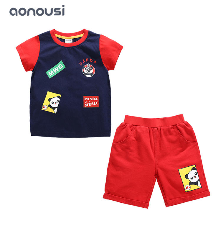 Boys clothing Summer short sleeves color matching suits brand fashion t shirt and shorts wholesale suits for boys