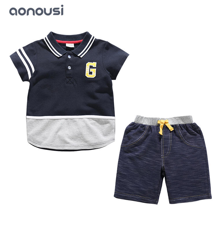 boys wholesale kids summer short sleeves sets children short sleeves green polo shirt and shorts two pieces suits