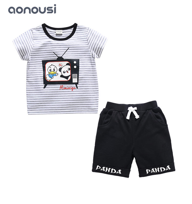 boys clothing suppliers kids causal fashion cartoon printing two pieces