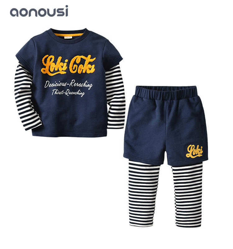 wholesale boys clothing cotton long sleeves shirt and pants two pieces boys suits