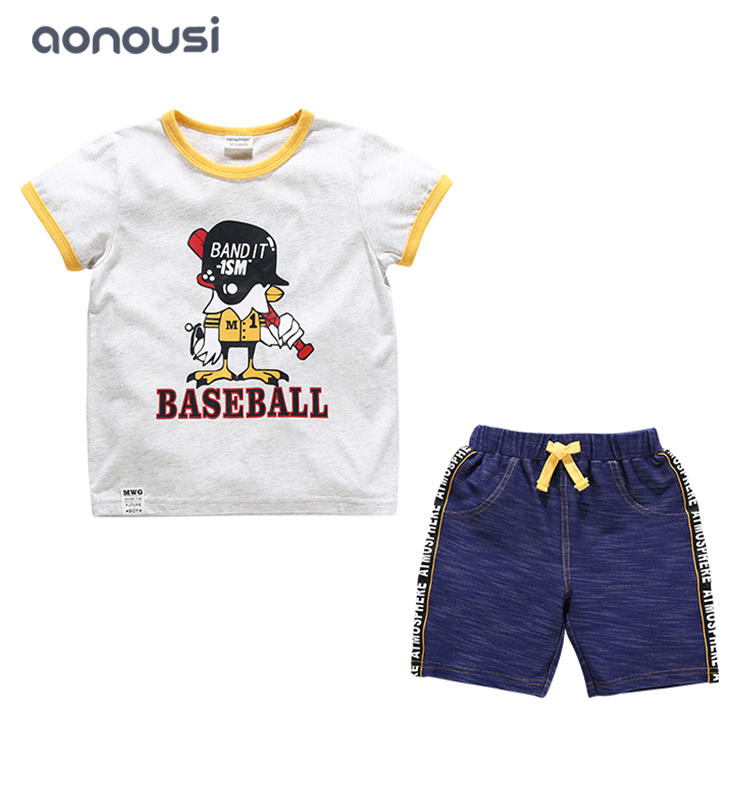 Boy children sets 2019 summer big children short Korean version fashion short sleeves t shirt summer wholesale suits for boys