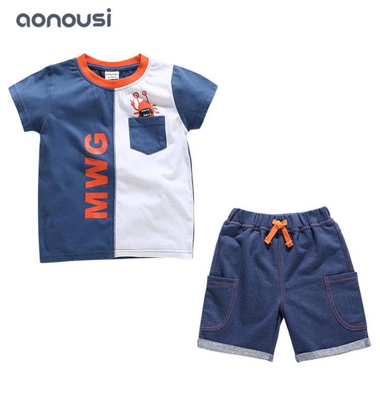 Summer fashion suits boys white and blue color matching suits boys suits wholesale