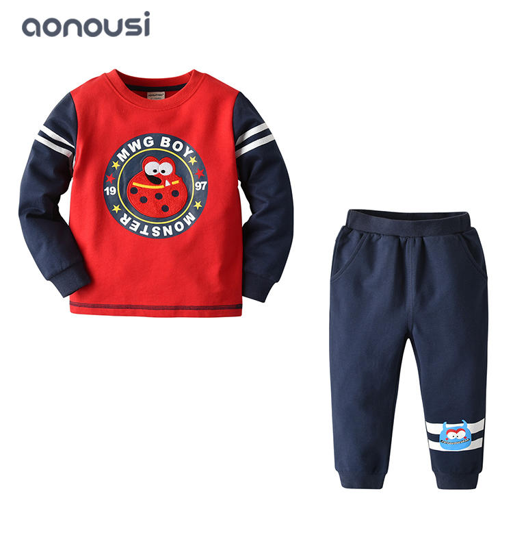 2019 Autumn winter new style boys clothing fashion warm long sleeves jacket hoodie and cartoon pants boys wholesale