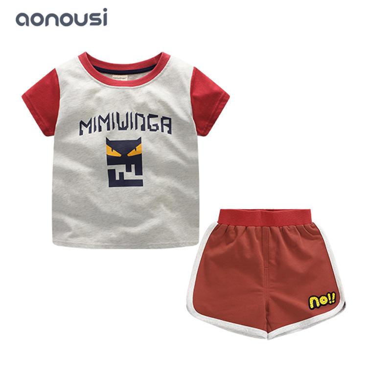 Summer kid boy sets monster children short sleeves suits wholesale suits for boys